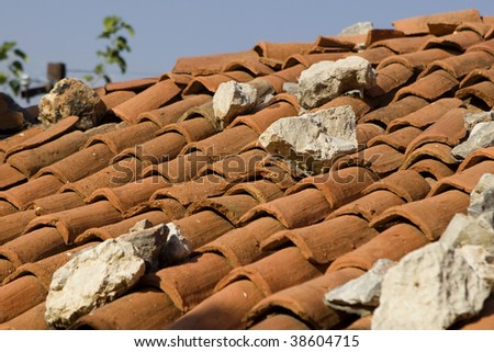 Facing at red roofs - stock photo