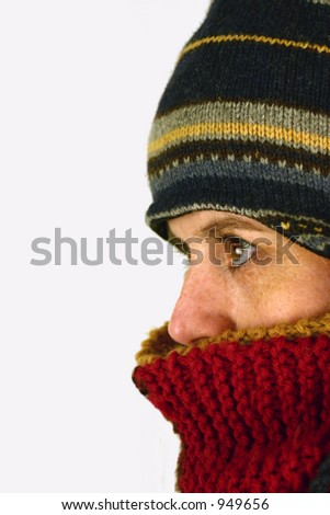 Facing the cold - stock photo