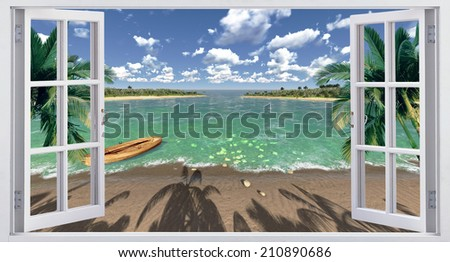 Facing the ocean, view from the window. - stock photo