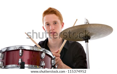 factor drummer playing music - stock photo