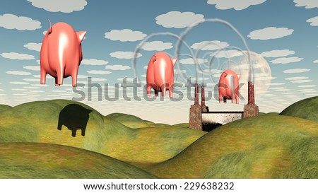 Factory and Pig - stock photo