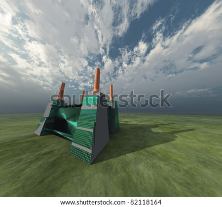 factory and sky - stock photo