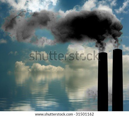 factory and smoke with blue cloudy sky at the background