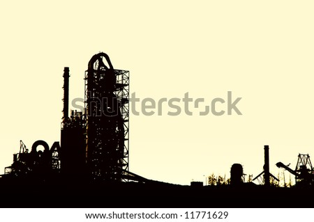 factory at sunrise - stock photo
