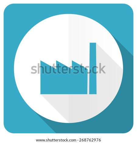 factory blue flat icon industry sign manufacture symbol  - stock photo