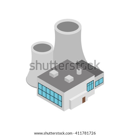Factory building icon, isometric 3d style - stock photo