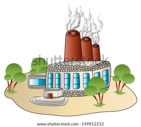 factory building plant in a cartoon style - stock photo