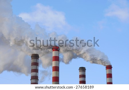 Factory chimney, power station, smoke pollution.