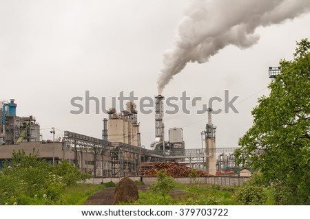 factory for drying of timber masses for plate MDF production - stock photo