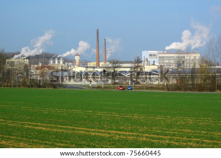 Factory, industrial landscape in middle Europe. - stock photo