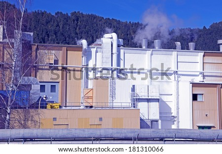 Factory Mondi in city Ruzomberok, Slovakia - stock photo