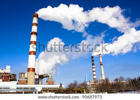 Factory on manufacture of chemical production (close up) - stock photo