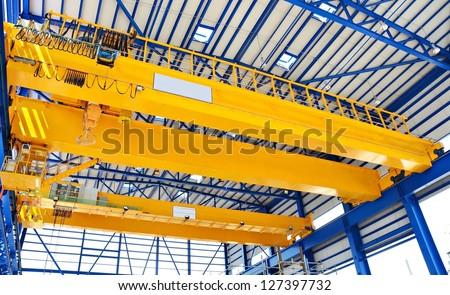 Factory overhead crane - stock photo
