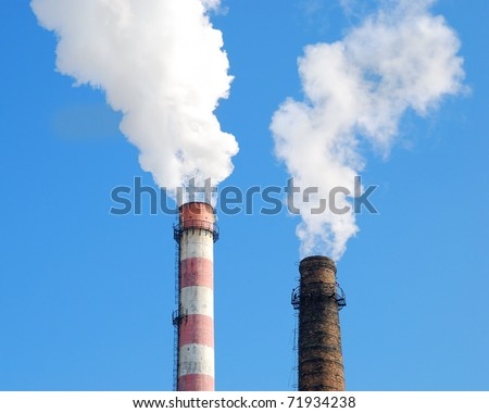 factory pipe and white cloud of pollution