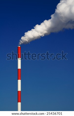 Factory pipe pollutes an environment. Vertical