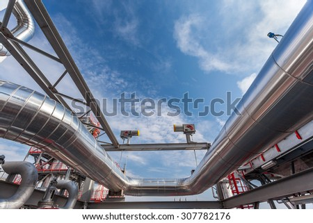 Factory piping system - stock photo
