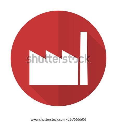 factory red flat icon industry sign manufacture symbol  - stock photo