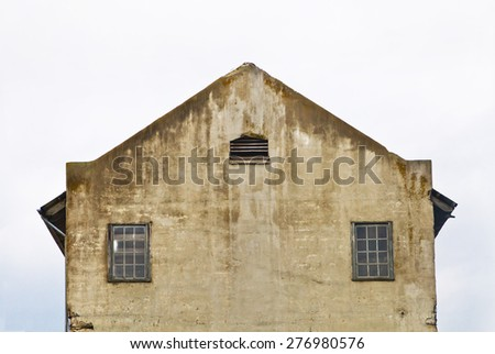 factory ruins, Alcatraz building, castle tower - stock photo