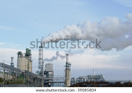 factory smoke, contaminating air with overcast sky