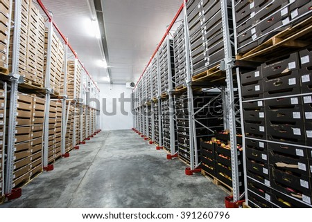 Factory warehouse stock boxes - stock photo