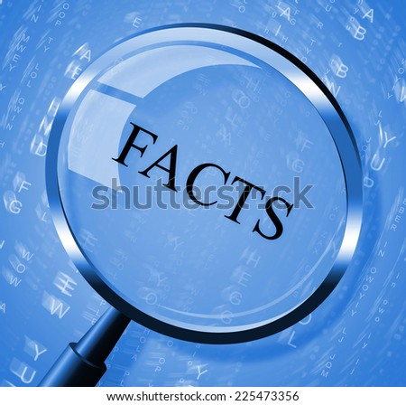 Facts Magnifier Indicating Reports Answers And Magnify - stock photo