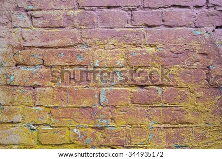 Faded muticolored brick wall texture background. Vintage effect.  - stock photo