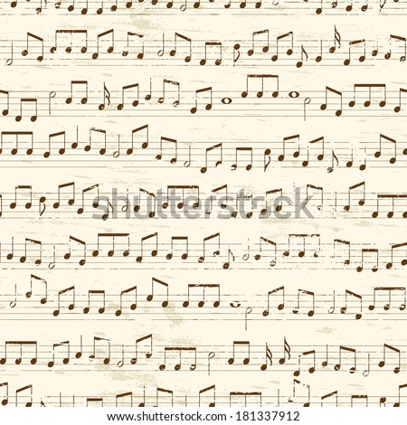 Faded old random musical notes background. Repeating tileable illustration  - stock photo