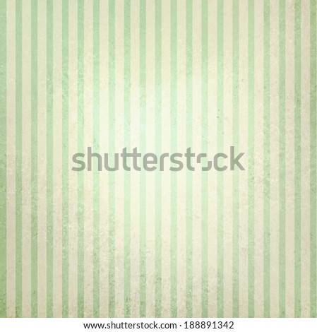 faded vintage green and beige striped background, shabby chic line design element on distressed texture with white center spot, cute Christmas background - stock photo