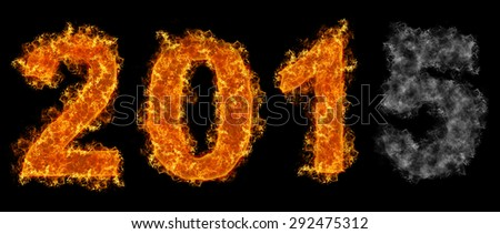 Fading Year 2015 text on fire - stock photo