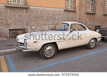 "FAENZA, ITALY - NOVEMBER 1: vintage Alfa Romeo Giulia SS, also called Giulietta Sprint Speciale (1964)in classic car rally during the festival ""Fiera di San Rocco"" on November 1, 2015 in Faenza, Italy"