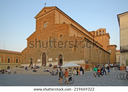 FAENZA, ITALY- SEPTEMBER 7, 2014: locals and tourists at the at the ceramic Sunday market walking near the city dome. The market is very popular in the city and attracts thousands of people. - stock photo