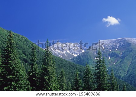 Fagaras Mountains from Bacaciu, Southern Carpathians, Romania
