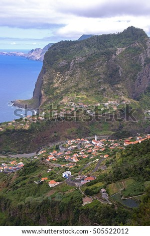 Faial and Pico de Aguia, towns and mountain formation on the coast of Madeira