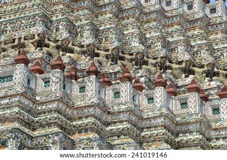 Faience mosaic. Wat Arun. Bangkok. Thailand - stock photo