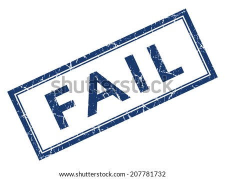 Fail blue square grungy stamp isolated on white background - stock photo