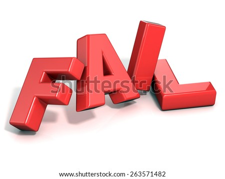 Fail concept. Red letters isolated over white background. 3D render illustration - stock photo