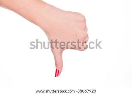 Fail. Female hand with red fingernails showing the fail sign isolated on white background.