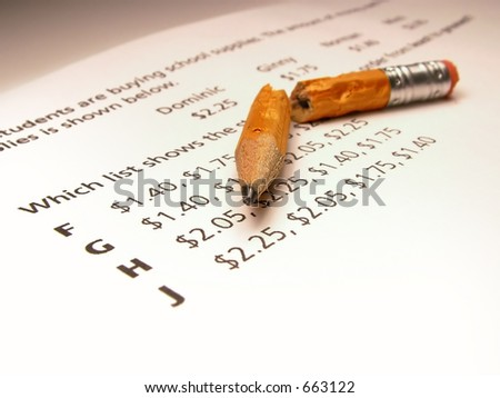 Failing an elementary school math test. - stock photo