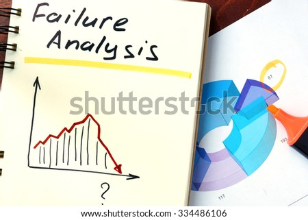 Failure analysis concept. Notepad on the table. - stock photo