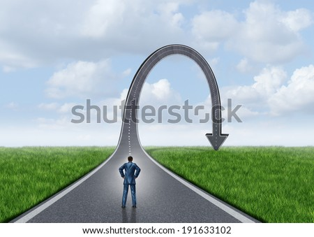 Failure concept and stress symbol as a business metaphor for failed journey and strategy as a businessman standing in front of an arrow shaped road that has gone up and fallen down to the ground. - stock photo
