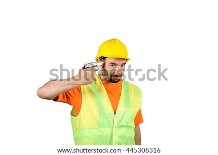 failure sadness guilty murder manual worker regretful gun in hand isolated on white background portrait - stock photo