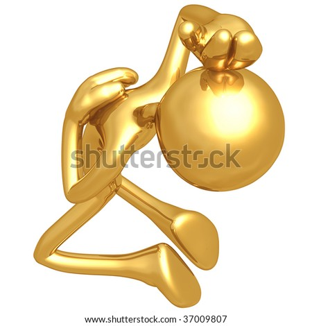 Fainting Gold Guy - stock photo