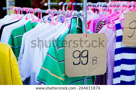 Fair flea market selling clothes in Thailand - stock photo