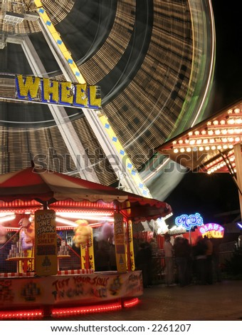 Fair ground - long exposure - stock photo