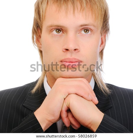 Fair-haired businessman reflects on problems, isolated on white background. - stock photo