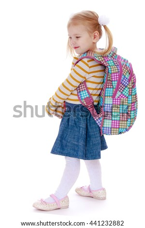 Fair-haired little girl with a big knapsack on his back - Isolated on white background - stock photo