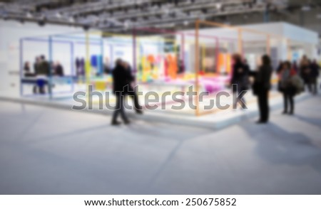 Fair show background. Intentionally blurred editing post production. - stock photo