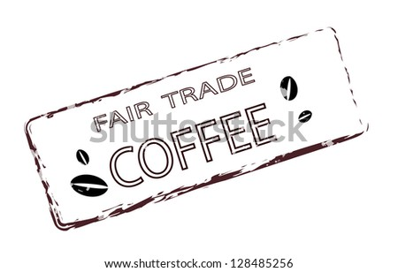 Fair trade coffee stamp - stock photo