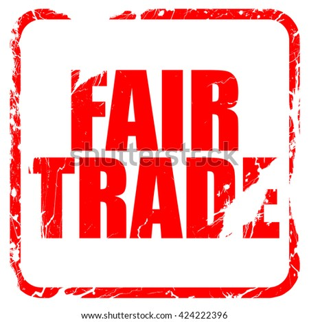 fair trade, red rubber stamp with grunge edges - stock photo