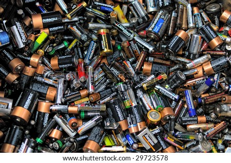 FAIRFAX, VA - CIRCA 2009: Batteries lie in a heap at an undisclosed recycling center circa 2009 in Fairfax.